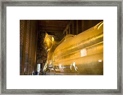 Gilded Reclining Buddha Statue Framed Print by Rebecca Hale