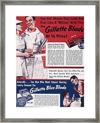 Gillette Razor Ad, 1939 Framed Print by Granger