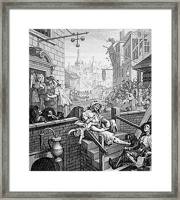 Gin Lane, William Hogarth Framed Print by Science Source