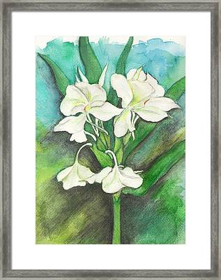 Framed Print featuring the painting Ginger Lilies by Carla Parris