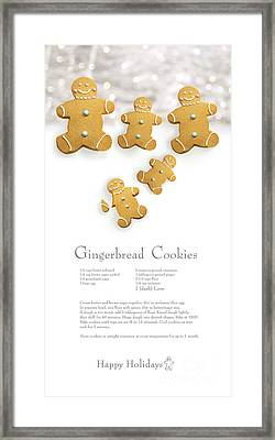 Gingerbread Men Cookies Against Cookie Receipe Framed Print by Sandra Cunningham