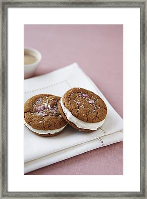 Gingersnap Cream Filled Cookies Framed Print