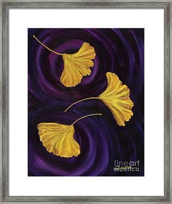 Ginkgo Leaves In Swirling Water Framed Print