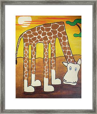 Framed Print featuring the painting Giraffe by Sheep McTavish