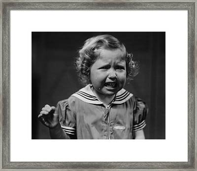 Girl (4-5) Crying, (b&w) Framed Print by George Marks