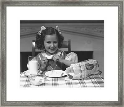 Girl (4-5) Eating Breakfast, (b&w) Framed Print by George Marks