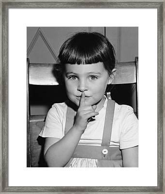 Girl (4-5) Holding Finer On Mouth, (b&w), Portrait Framed Print by George Marks
