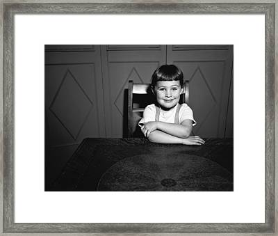 Girl (5-5) Sitting At Table, (b&w), Portrait Framed Print by George Marks
