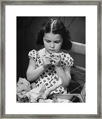 Girl (6-7) Threading Needle, (b&w) Framed Print by George Marks