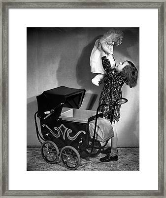 Girl And Baby Framed Print by George Marks