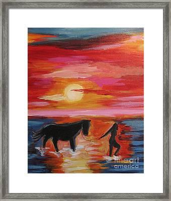 Girl And  Horse Framed Print