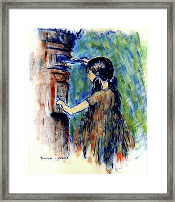 Girl And Letter Box Framed Print by Ricardo Di ceglia