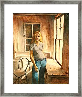 Girl At The Window Framed Print by Rita Bentley