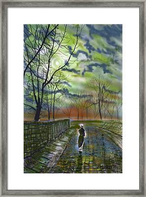 Girl By Moonlight Framed Print