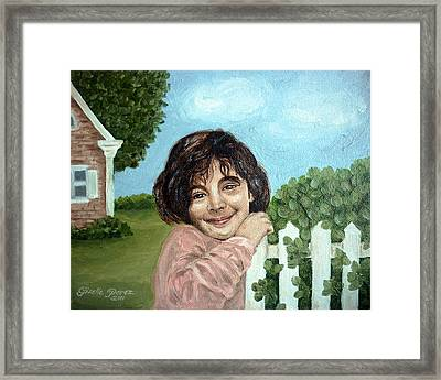 Girl By The Fence Framed Print