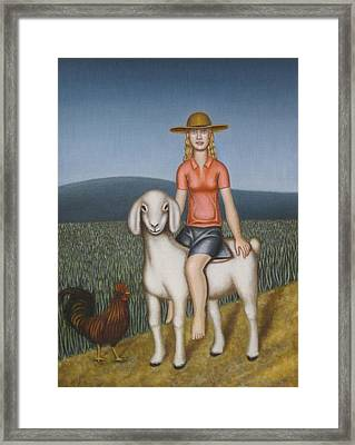 Girl Goat And Chicken Framed Print by Thomas Jeffreys