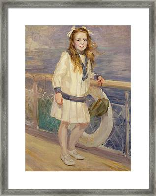 Girl In A Sailor Suit Framed Print by Charles Sims
