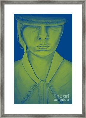 Girl In Hat Blue Framed Print
