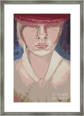 Girl In Hat Pink Framed Print by Judy Morris