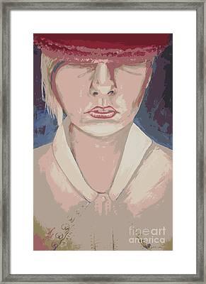 Girl In Hat Pink Framed Print