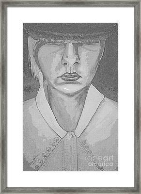 Girl In Hat Shady Grey Framed Print