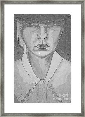 Girl In Hat Shady Grey Framed Print by Judy Morris