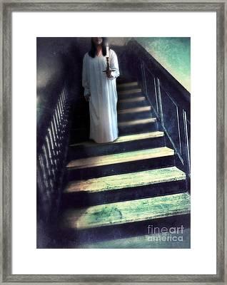 Girl In Nightgown On Steps Framed Print by Jill Battaglia