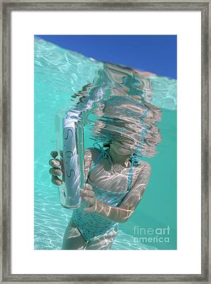 Girl In Pool Holding Bottle With Sos Message Framed Print by Sami Sarkis