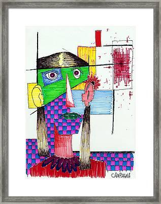 Girl In Red Blouse  Framed Print