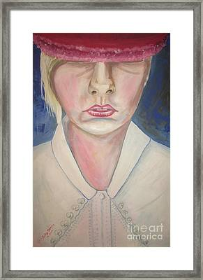Girl In Red Hat Framed Print by Judy Morris