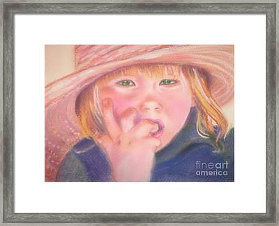 Girl In Straw Hat Framed Print by Julie Brugh Riffey