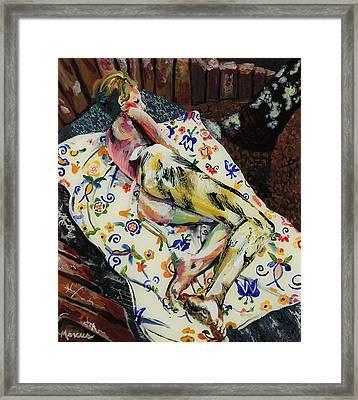 Girl On Blanket Framed Print by Lucia Marcus
