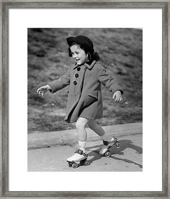 Girl Roller-skating Framed Print by George Marks