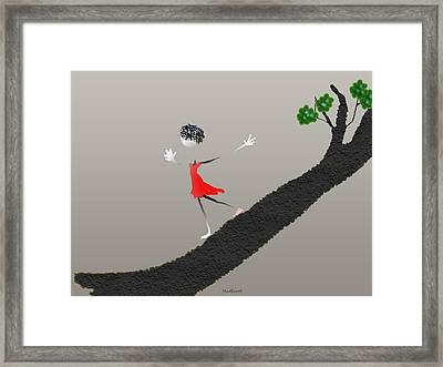 Framed Print featuring the digital art Girl Running Down A Tree by Asok Mukhopadhyay