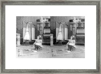 Girl Seated In Middle Of Room Framed Print by Everett