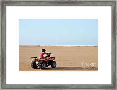 Girl Speeding On Atv In Desert Framed Print by Sami Sarkis