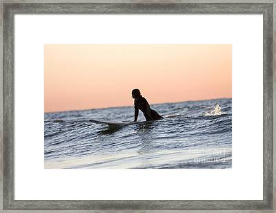 Girl Surfer Catching A Wave In Lake Michigan Framed Print by Christopher Purcell