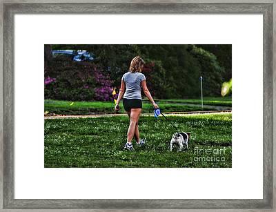Girl Walking Dog Framed Print by Paul Ward