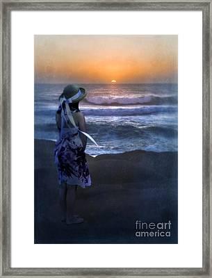 Girl Watching The Sun Go Down At The Ocean Framed Print by Jill Battaglia