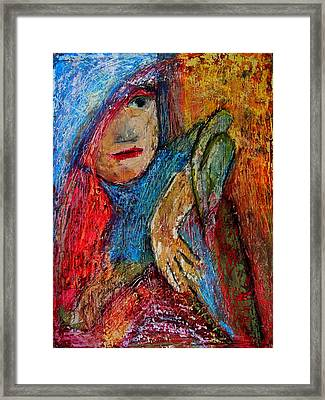 Girl With A Green Parrot  Framed Print