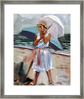 Girl With A Parisol Framed Print by Mark Lunde
