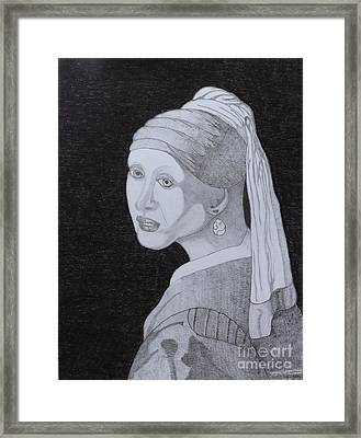 Framed Print featuring the drawing Girl With A Pearl Earring by Gerald Strine
