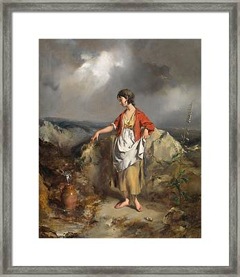Girl With A Pitcher Framed Print by PF Poole