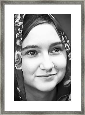 Girl With A Rose Veil 4 Bw Framed Print by Angelina Vick