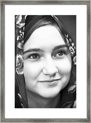 Girl With A Rose Veil 4 Bw Framed Print