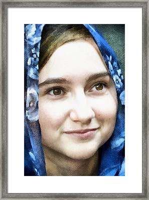 Girl With A Rose Veil 4 Illustration Framed Print