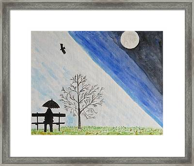 Framed Print featuring the painting Girl With A Umbrella by Sonali Gangane