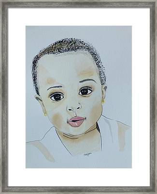 Girl With Ear Rings  Framed Print by Robert Tarzwell