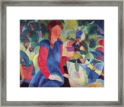 Girl With Fishbowl Framed Print by Pg Reproductions