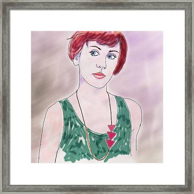 Framed Print featuring the digital art Girl With Necklace by Ginny Schmidt